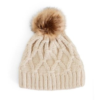 Two's Company Two's Company Oatmeal Cable Knit Hat with Fleece Lining