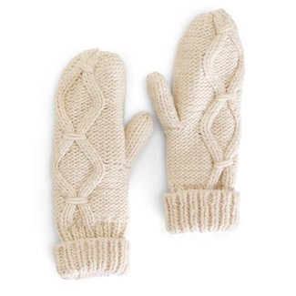 Two's Company Two's Company Oatmeal Cable Knit Mittens