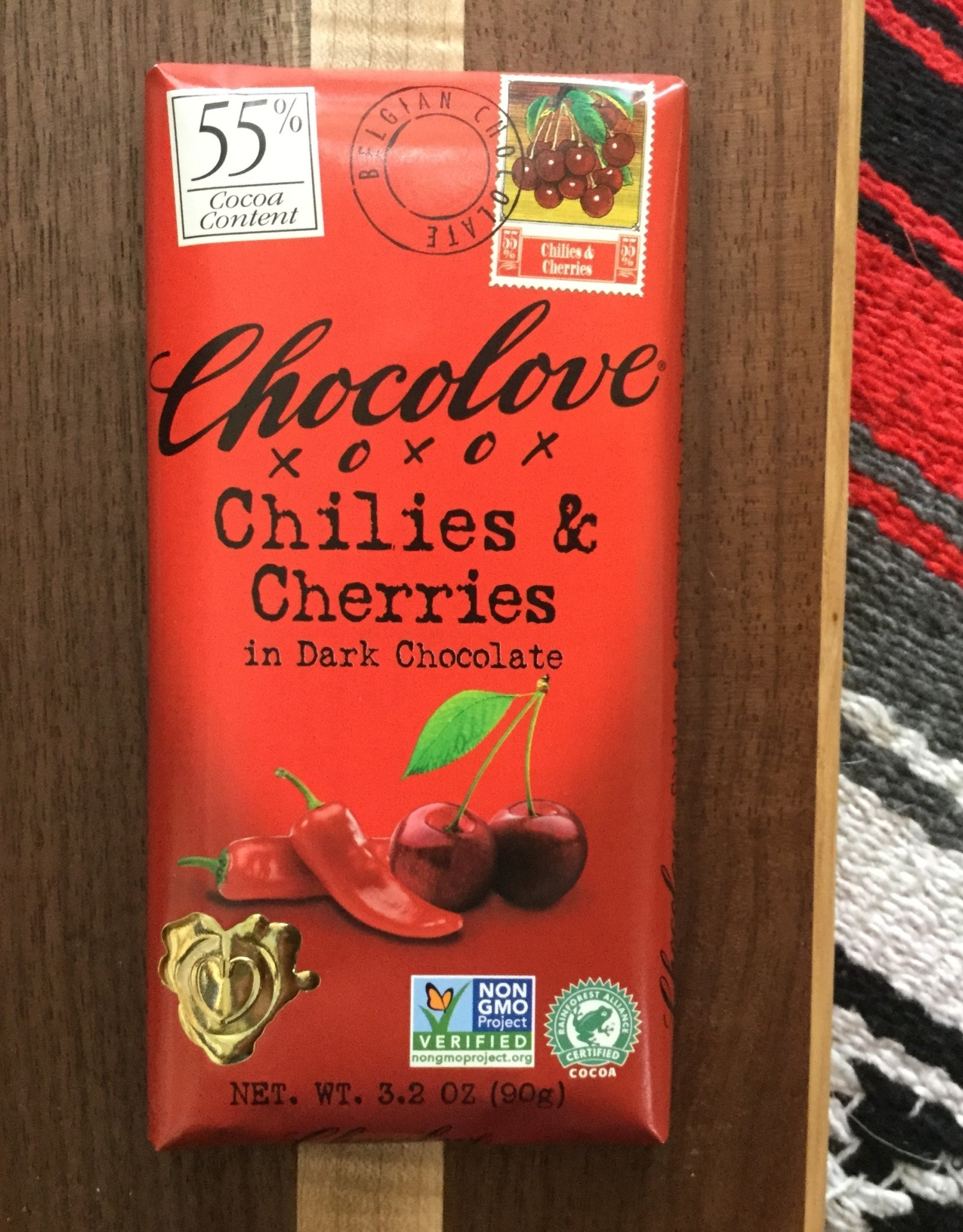 Chocolove Chilies & Cherries Dark Chocolate Bar 3.2oz