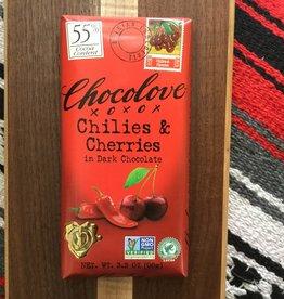 Chocolove Chilies & Cherries Dark Chocolate Bar 3.2oz