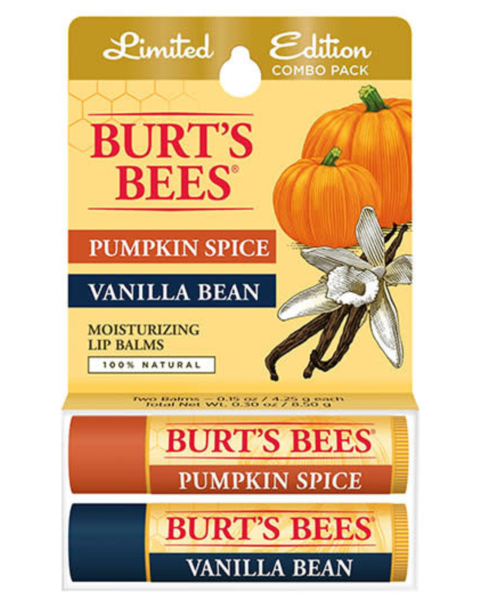 Burt's Bees Pumpkin Spice & Vanilla Bean Lip Balm 2-pack
