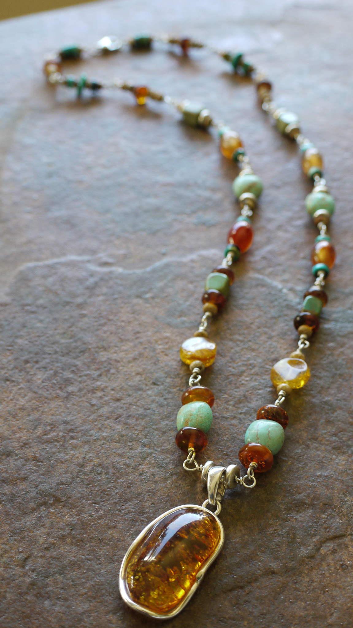 Baltic Amber & Turquoise Necklace