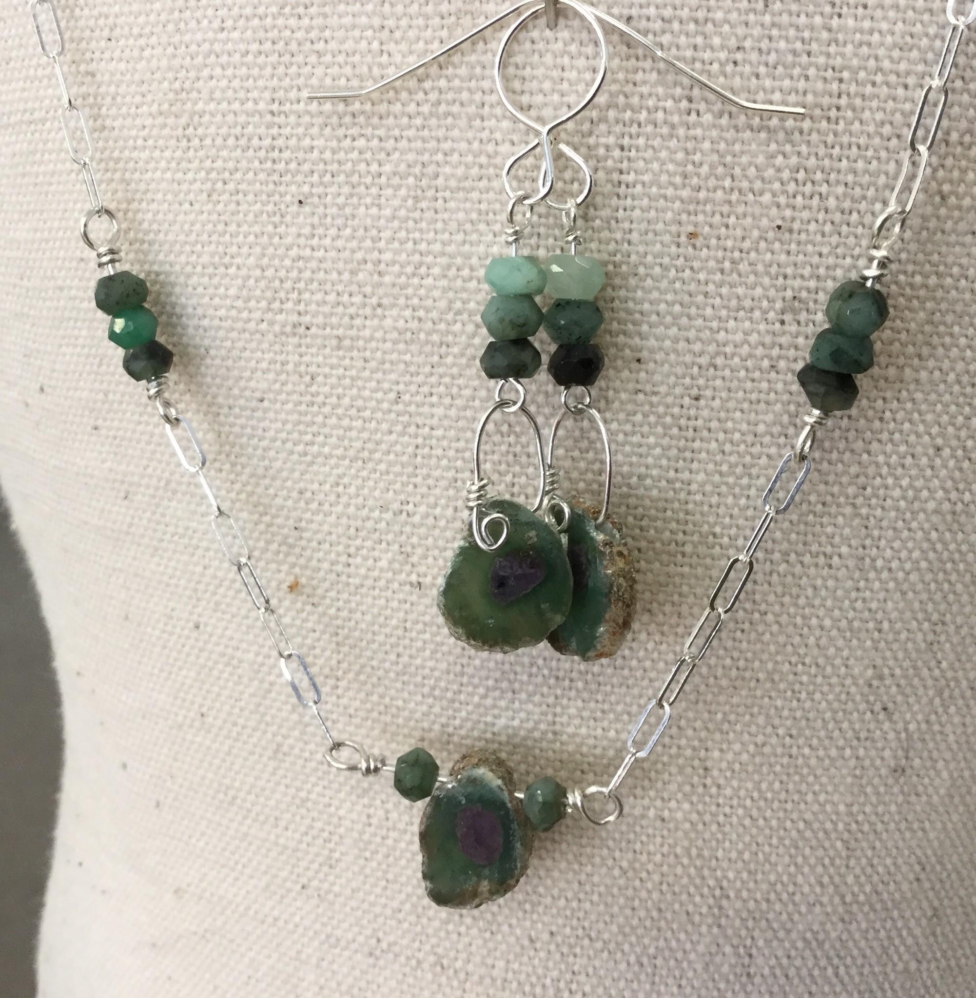 Ruby in Zoisite Necklace & Earrings Set