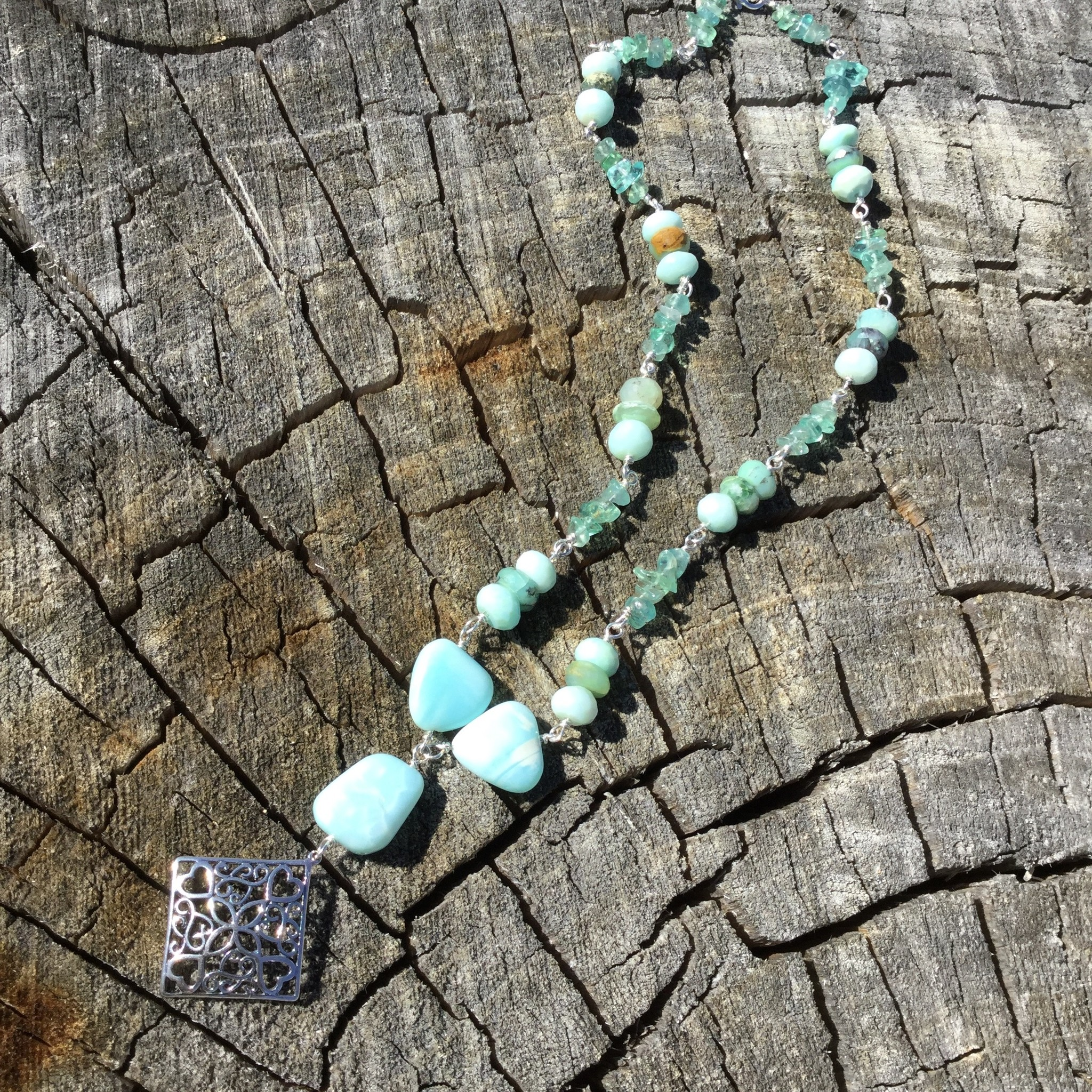 Amazonite & Sterling Scroll Necklace