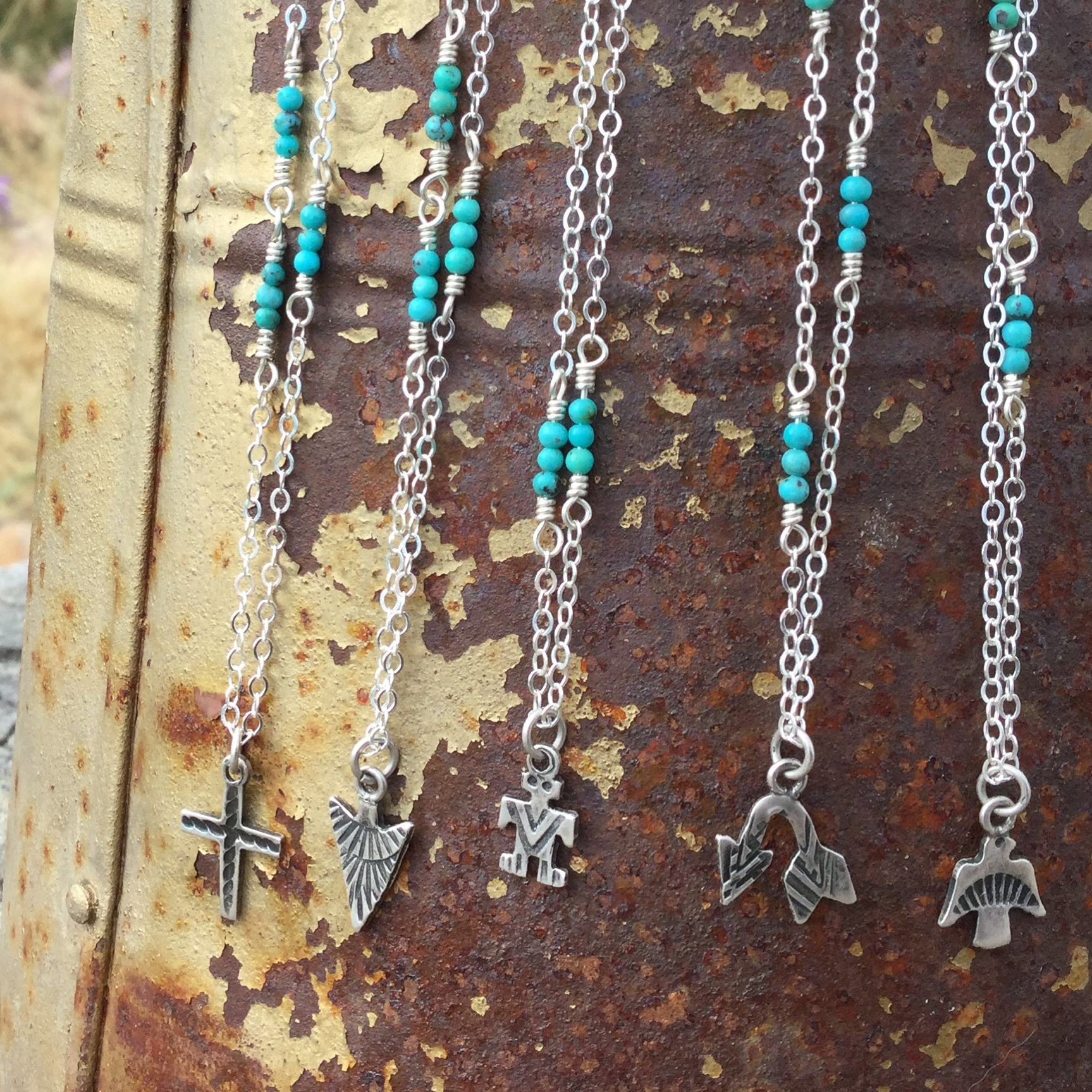 Vintage Sterling Charms with Turquoise