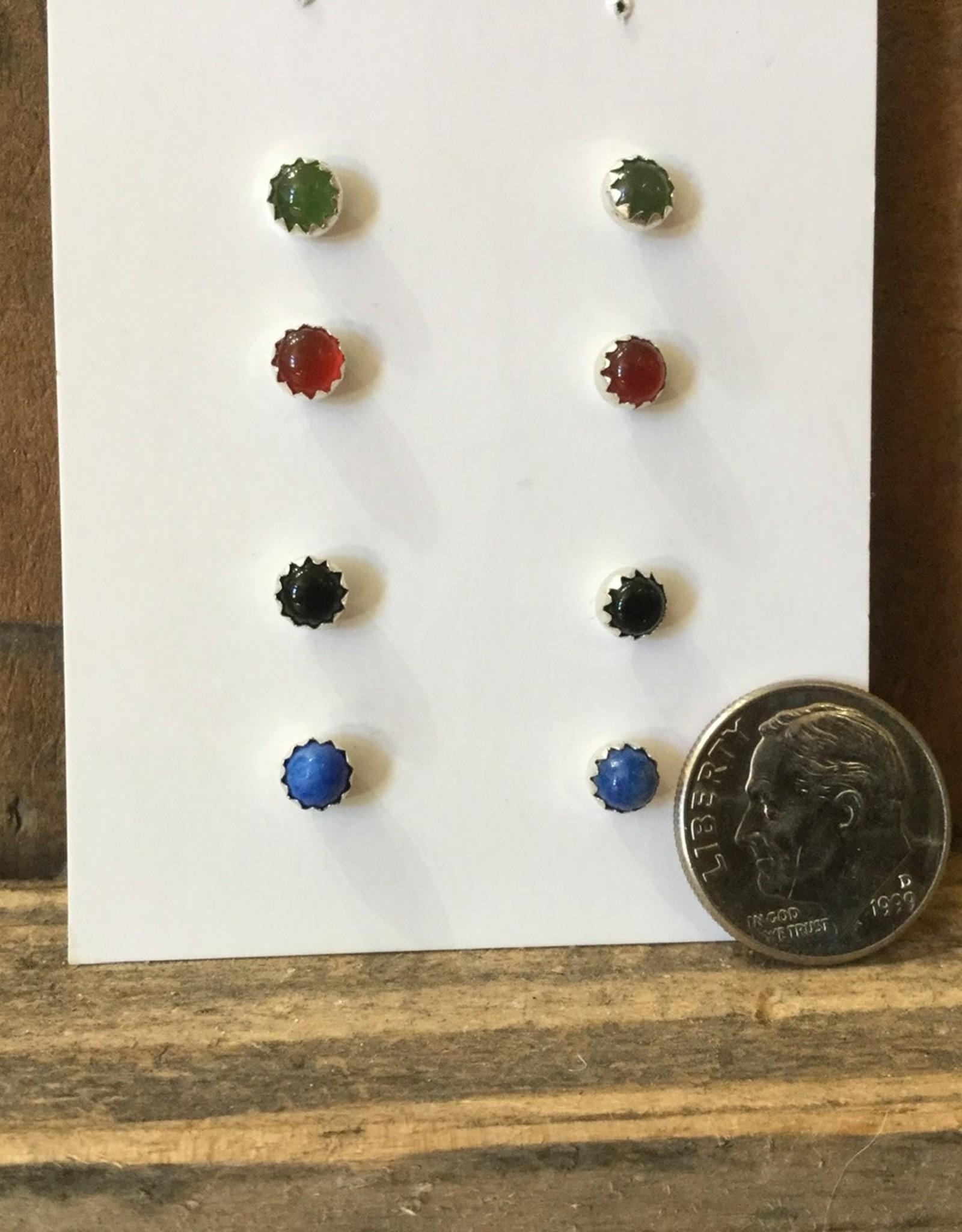 Min*Designs Earrings, Serrated Bezel Post