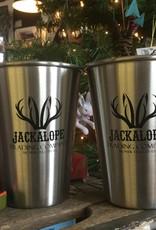Liquid Hardware Jackalope Pint Glass, Brushed Stainless