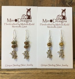 Min*Designs Earrings, Ster Horned Lizard + ma'anshan Turquoise