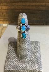 Ring, 3 stone turquoise w/leaf shank JTC-053