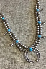 Sterling Turquoise Squash Blossom Necklace