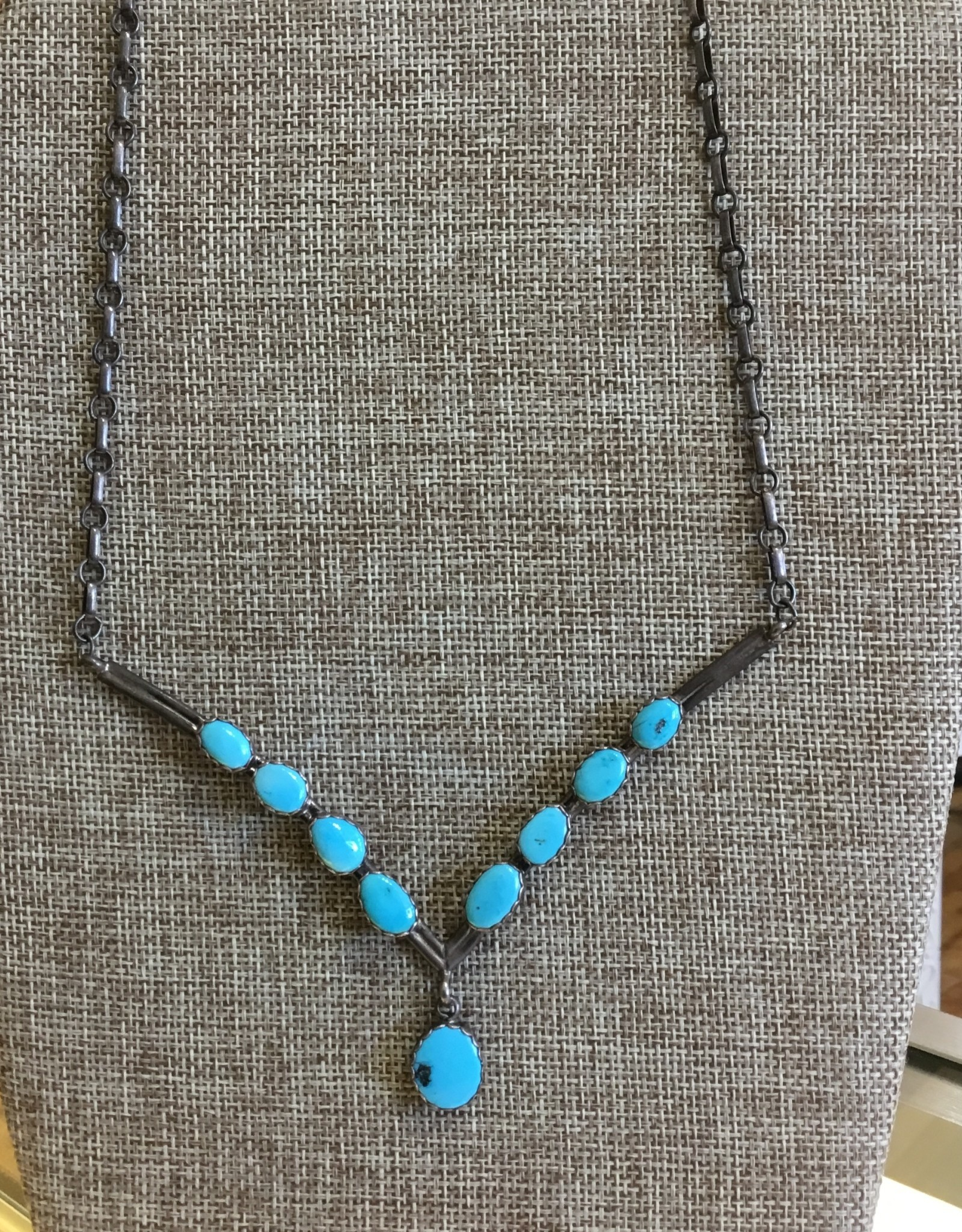 Sterling Turquoise Breastplate Necklace w/ Drop