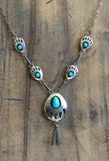 Sterling Bearpaw Shadowbox Necklace w/Feathers Signed RB