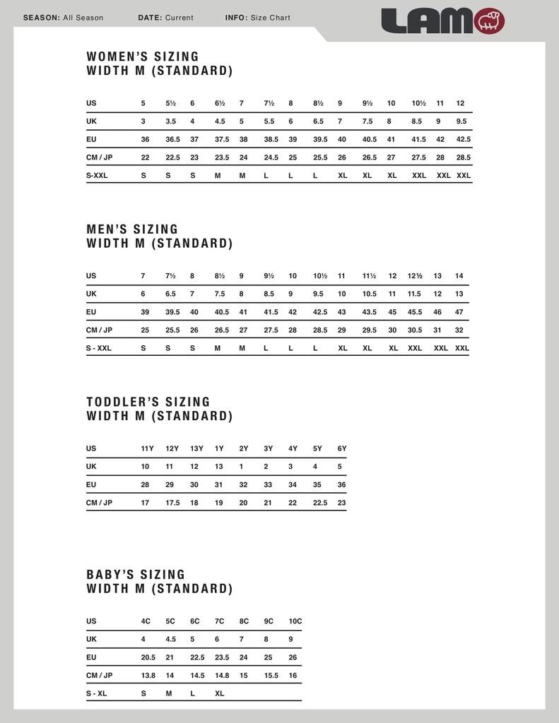 Lamo Sizing Chart