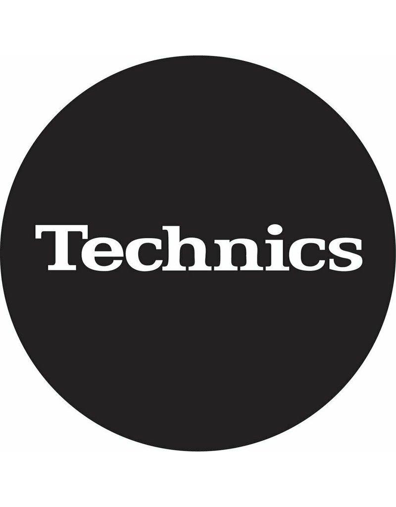 Technics Classic Logo in White on Black Slipmats (Pair)