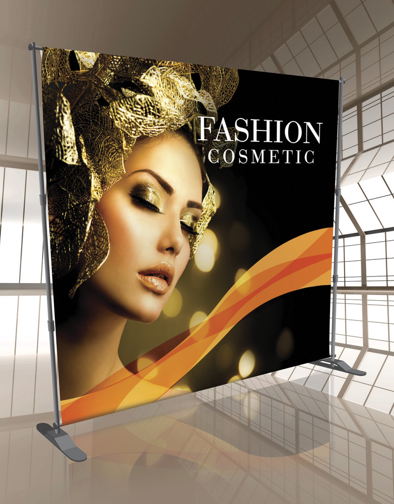 Mile High DJ Supply 10ft x 8ft Telescopic Backdrop Stand w/ 7ft 11in x 8ft 13oz Vinyl Banner w/ 4 Pockets Top and Bottom
