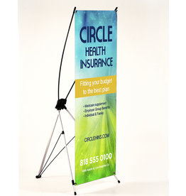 10mil. Vinyl Indoor Banner w/ X-Style Collapsible Stand (1-2'x5')