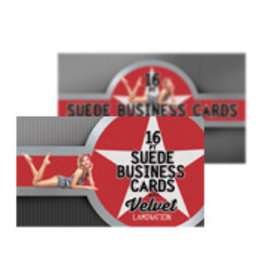 "2"" x 3.5"" 16PT Suede Round Corner Business Cards w/ Soft Velvet Lamination w/ Spot UV on back (500)"