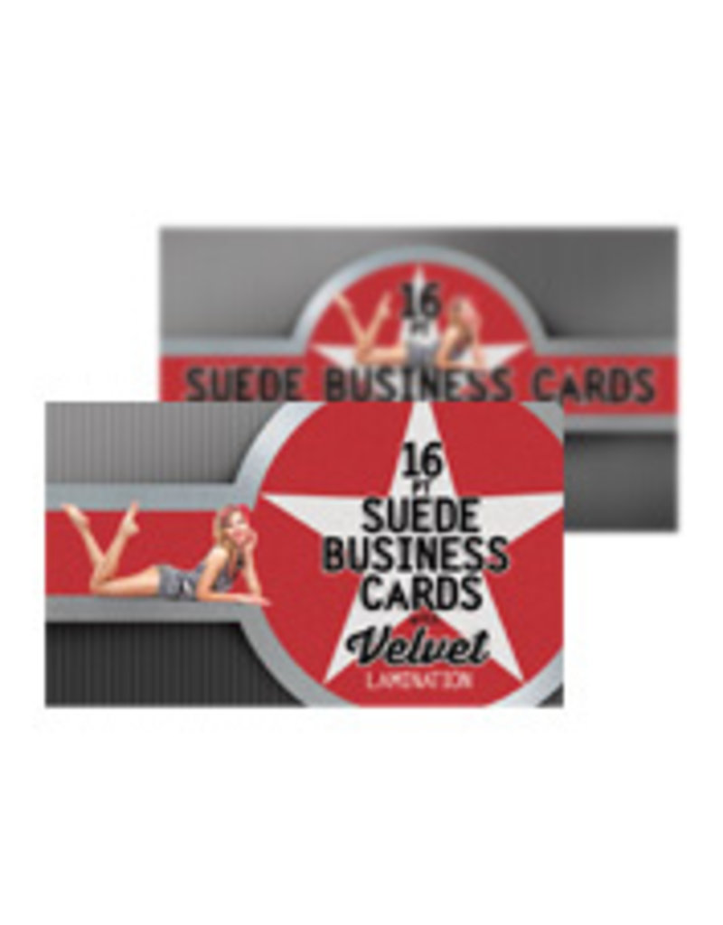 "2"" x 3.5"" 16PT Suede Round Corner Business Cards w/ Soft Velvet Lamination w/ Spot UV on front (500)"