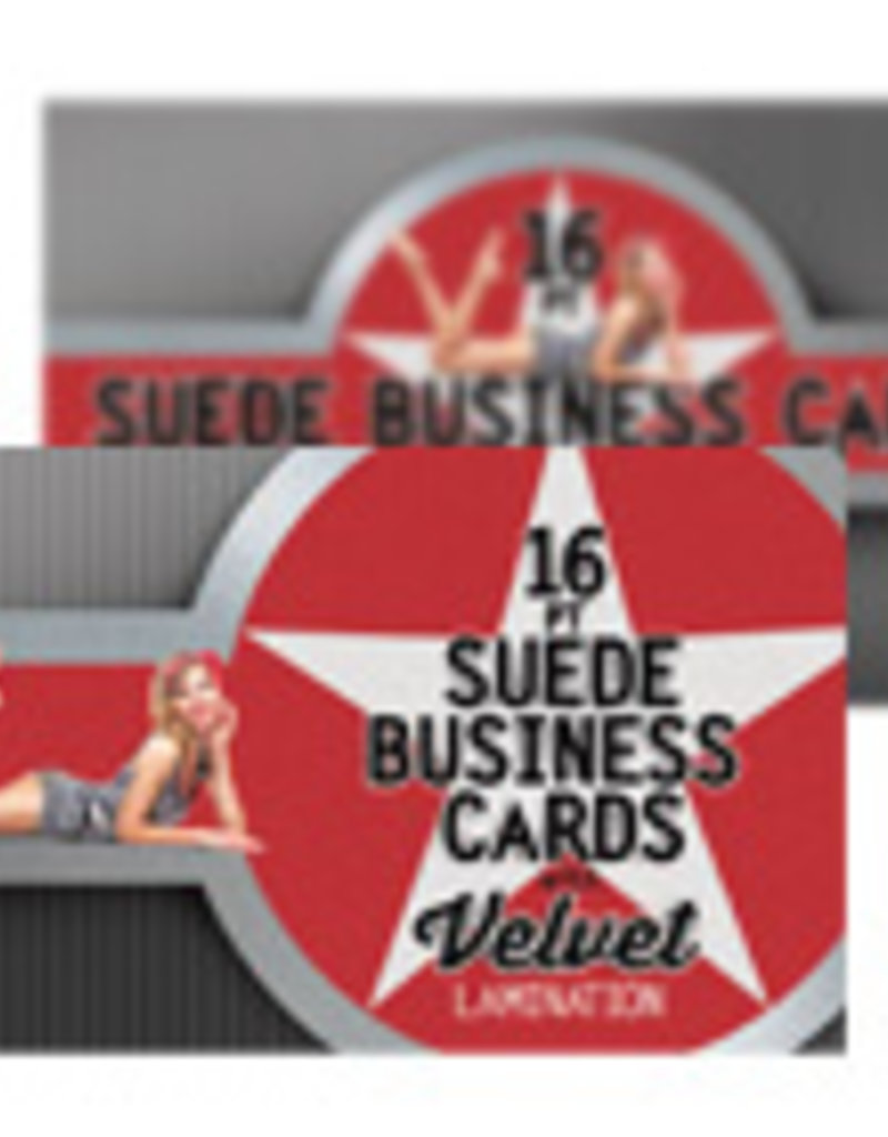 """Mile High DJ Supply 2"""" x 3.5"""" 16PT Suede Business Cards w/ Soft Velvet Lamination w/ Spot UV on the front (500)"""