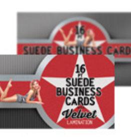 "Mile High DJ Supply 2"" x 3.5"" 16PT Suede Business Cards w/ Soft Velvet Lamination w/ Spot UV on the back (500)"