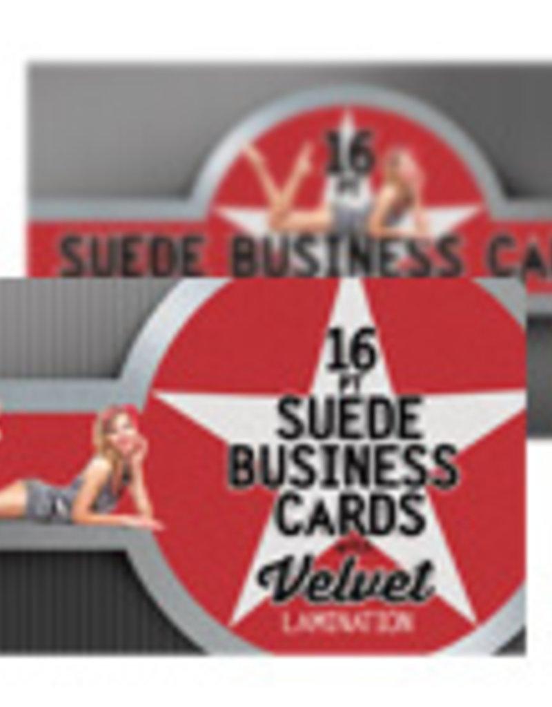 "Mile High DJ Supply 2"" x 3.5"" 16PT Suede Business Cards w/ Soft Velvet Lamination w/ Spot UV on both sides (500)"