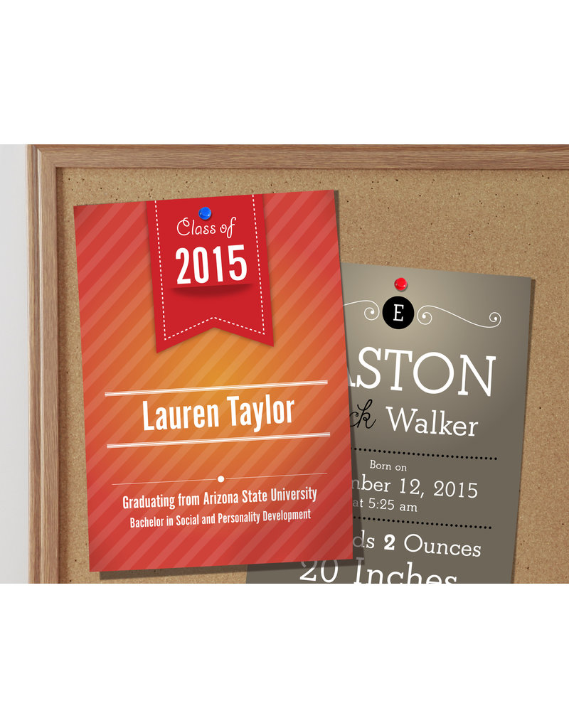 "4.25"" X 6"" 16PT Suede Announcement Cards w/ Soft Velvet Lamination w/ Spot UV on the back (500)"