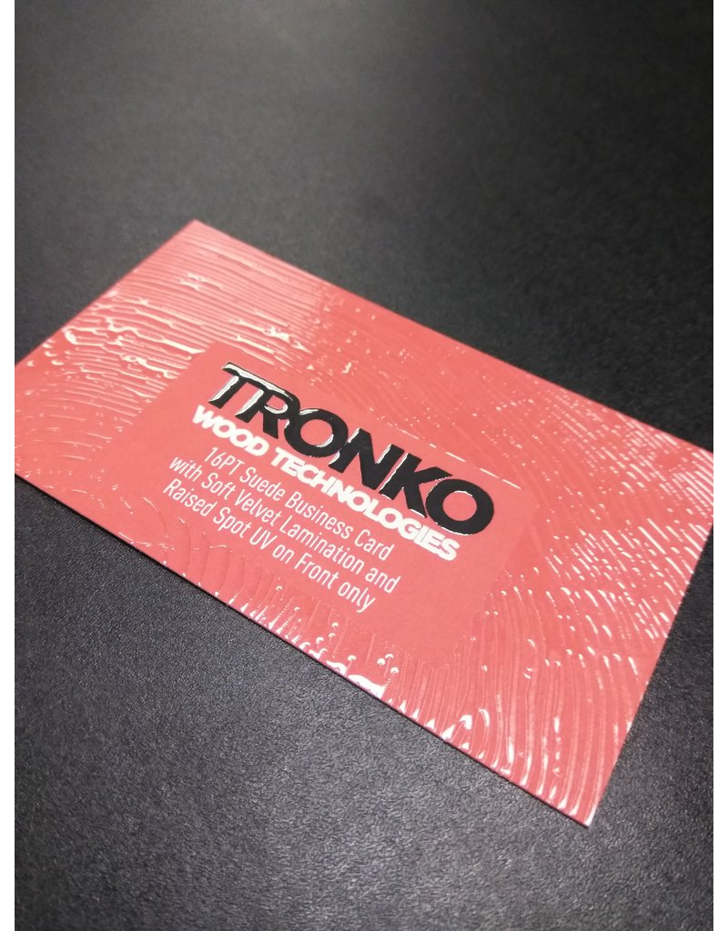 """2"""" X 3.5"""" 16PT Suede Business Cards w/ Raised Spot UV on both sides (100)"""