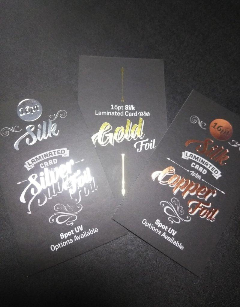 "Mile High DJ Supply 2"" x 3.5"" 16PT Silk Laminated Foiled Business Cards Spot UV on both sides (500)"
