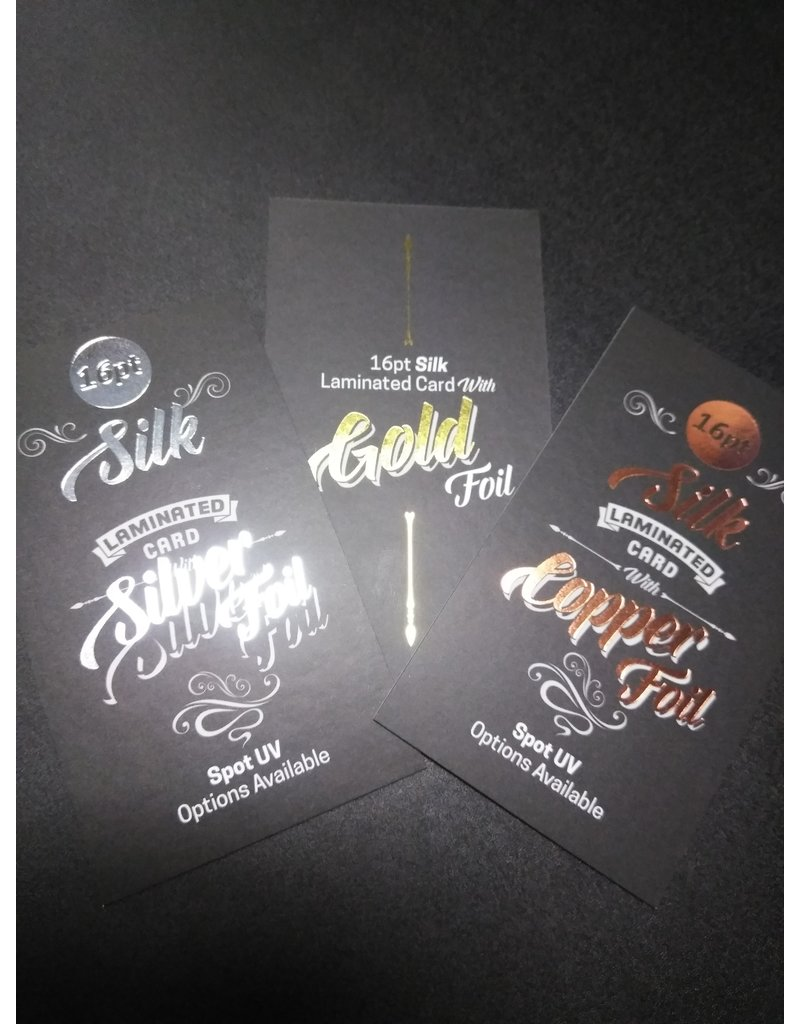 """2"""" x 3.5"""" 16PT Silk Laminated Rounded Corners Foiled Business Cards, Spot UV on the front (500)"""