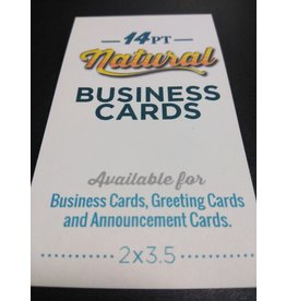 "2"" X 3.5"" 14pt Natural Uncoated Business Cards (100)"