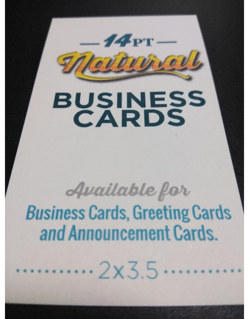 """2"""" X 3.5"""" 14pt Natural Uncoated Business Cards (100)"""