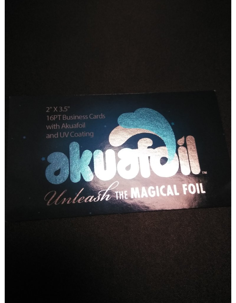 """2"""" X 3.5"""" 16PT Round Corner Business Cards w/ Akuafoil w/ Spot UV on front only, No UV Coating on the back (500)"""
