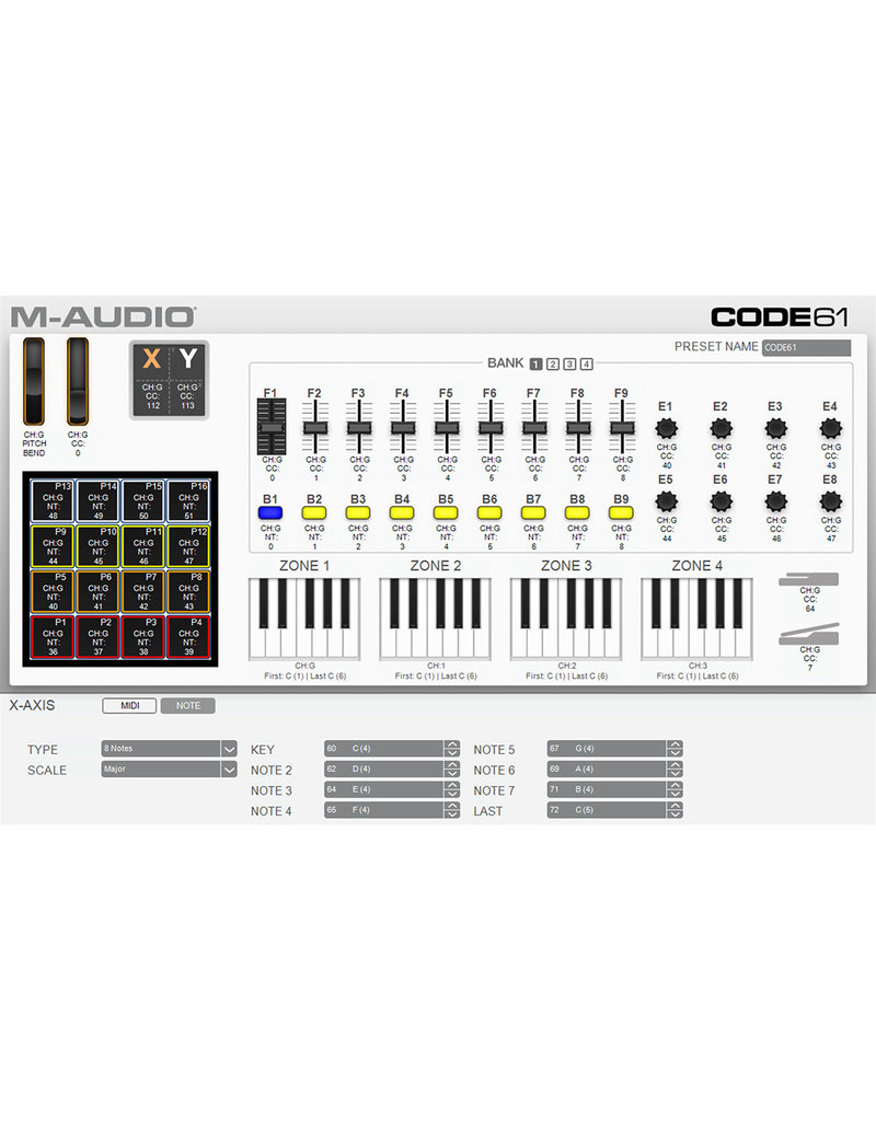Code 61 USB MIDI Controller with X/Y Pad - M-Audio