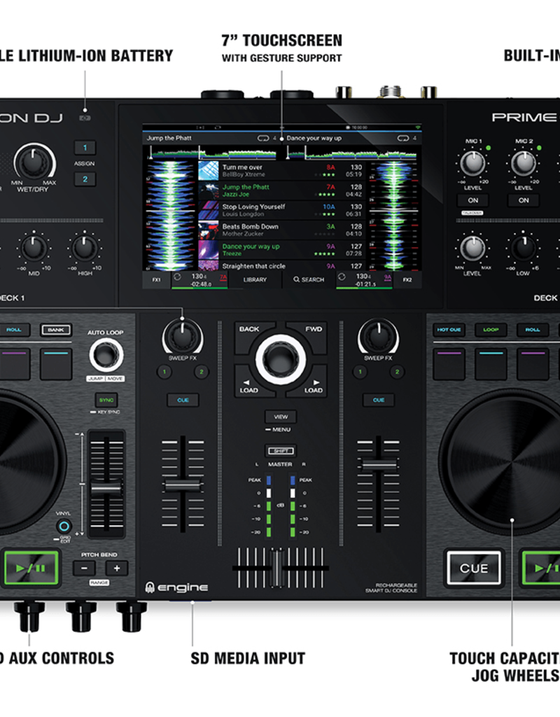 """***Limited Stock Shipping In September*** Denon DJ Prime GO 2-Deck Rechargeable Smart DJ Console with 7"""" Touchscreen"""