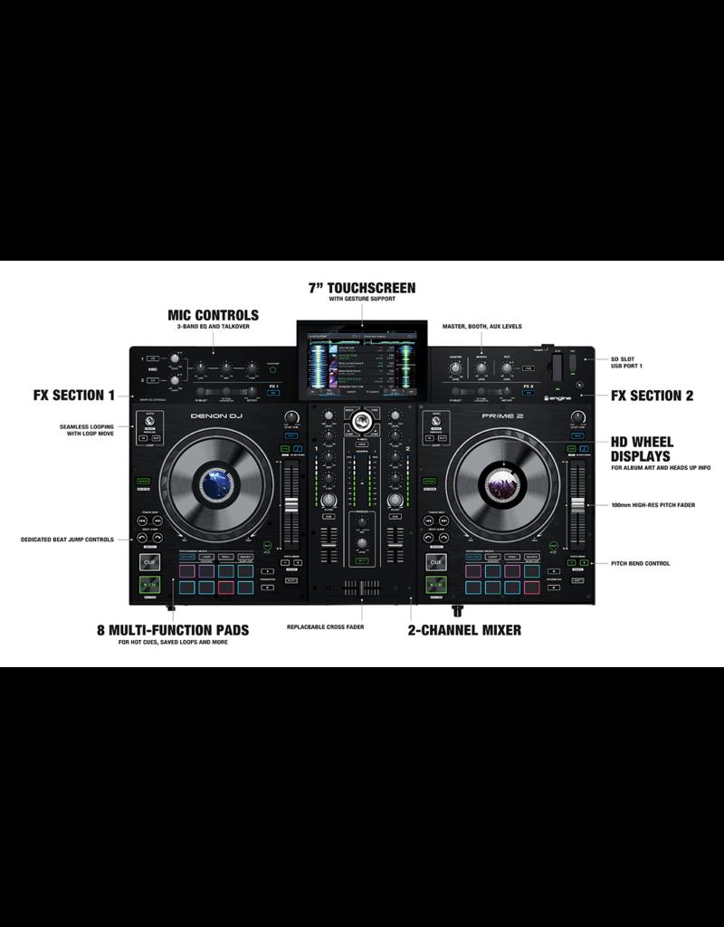 """Denon DJ Prime 2 2-Deck Smart DJ Console with 7"""" Touchscreen"""
