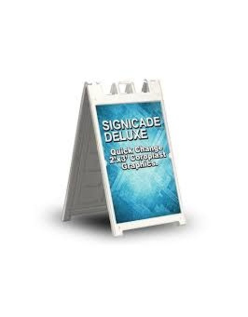 """4 Over Signicade Deluxe White Frame Double Sided w/ 2 - 24"""" x 36"""" 4mm Coroplast Signs"""