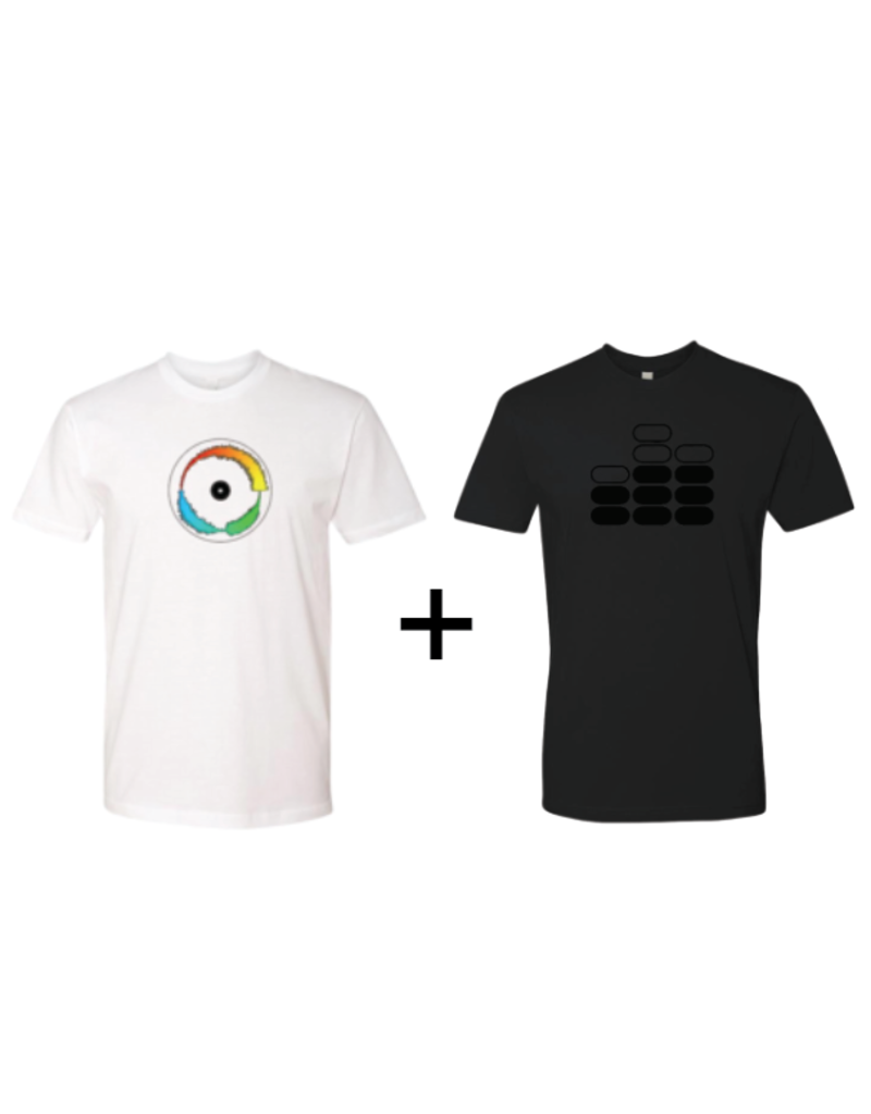 Mile High DJ Supply T Shirt Bundle (1) Visual Vinyl Vol. 1 White T Shirt + (1) All Black Mile High DJ Supply T Shirt