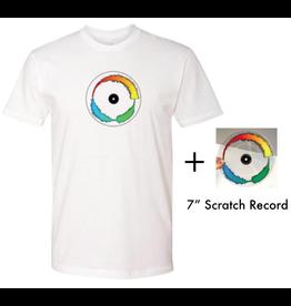 "Mile High DJ Supply Visual Vinyl Vol. 1 Bundle (Limited to 20) - White T Shirt & Clear 7"" Visual Vinyl Vol. 1 Scratch Record"