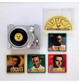 """Crosley Crosley RSD3 Mini Turntable with a Set of 4 Johnny Cash 3"""" Records"""