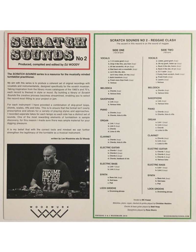 """Woodwurk Records Scratch Sounds No 2 (Reggae Clash) by DJ Woody 12"""" Scratch Record"""
