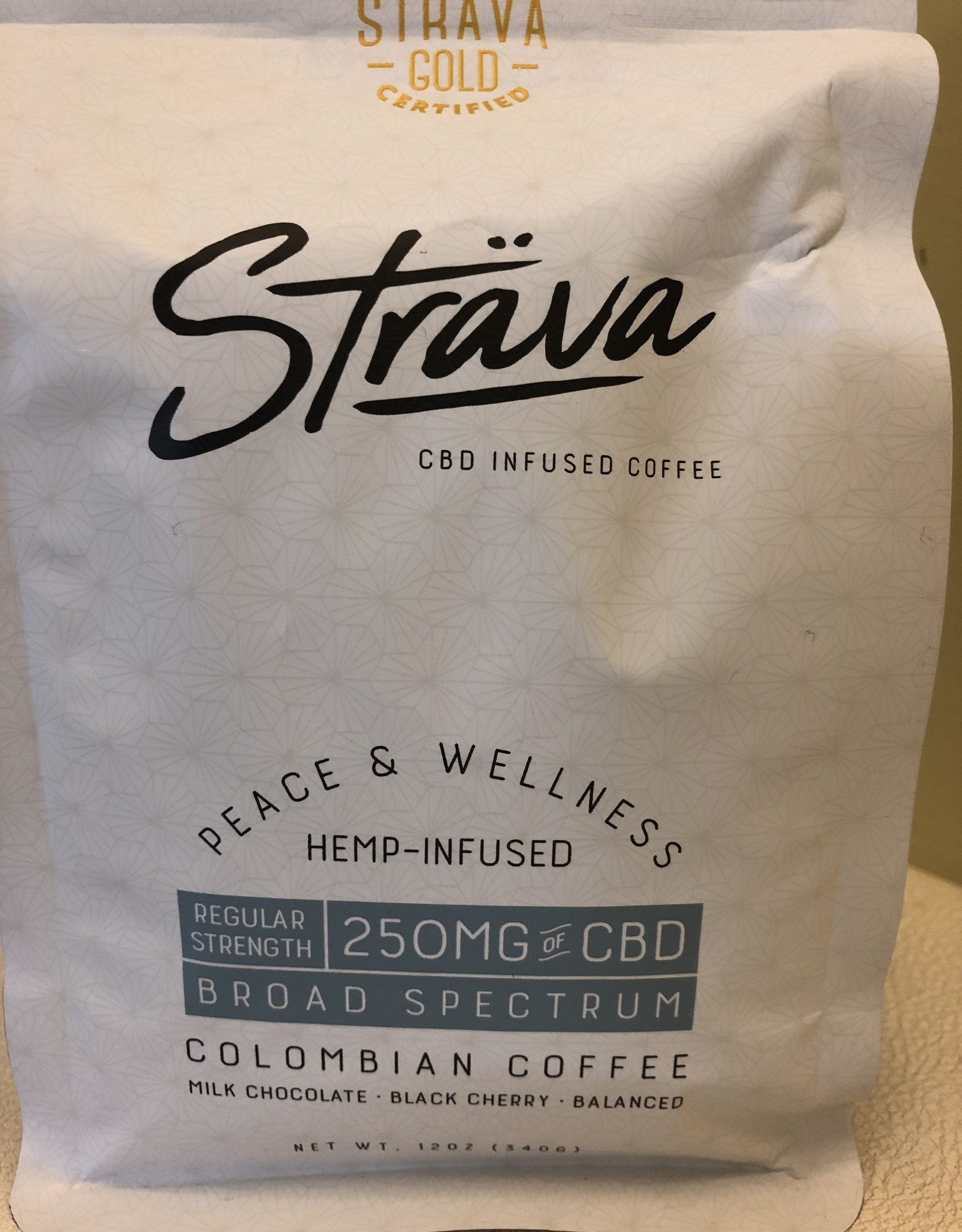 Strava Hemp Infused Coffee - Regular Strength 250mg/bag, 10mg/serving