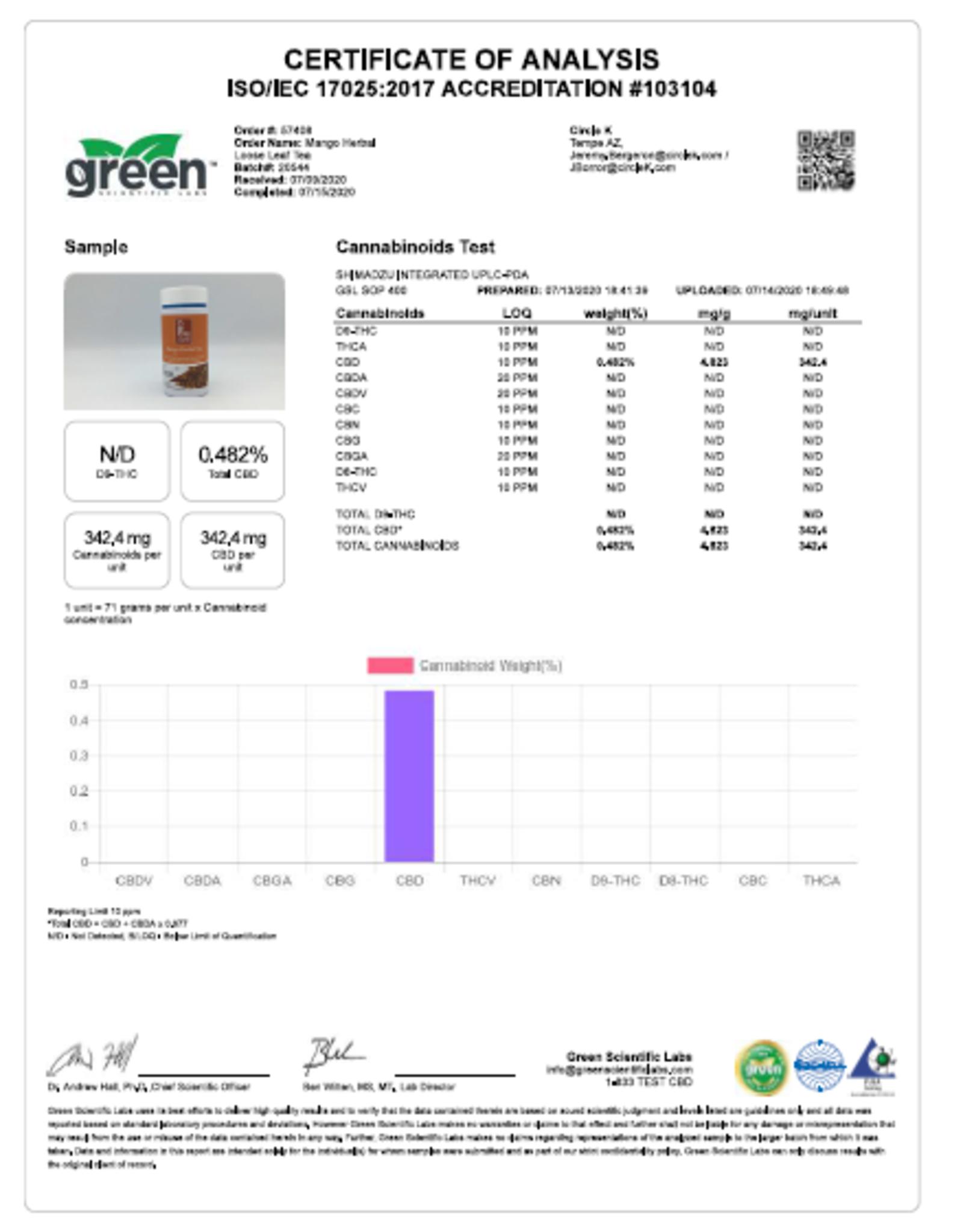 CBD Living Full Spectrum CBD Mango Herbal Tea 250 mg/12.5mg