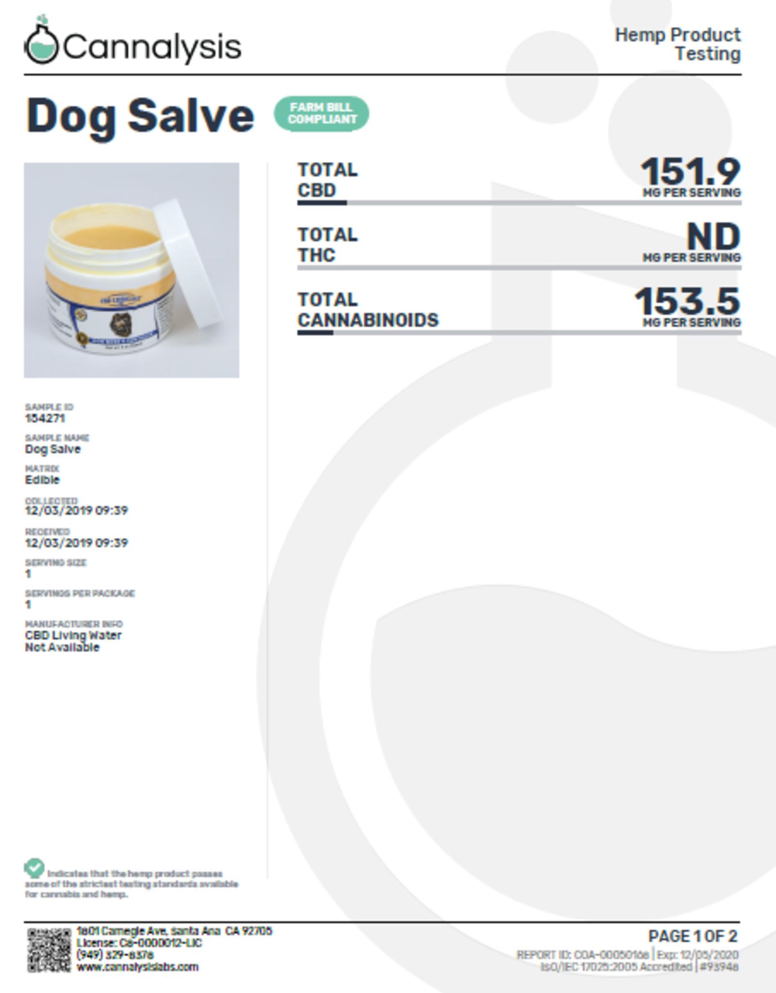 CBD Living Dog Nose and Paw CBD Salve