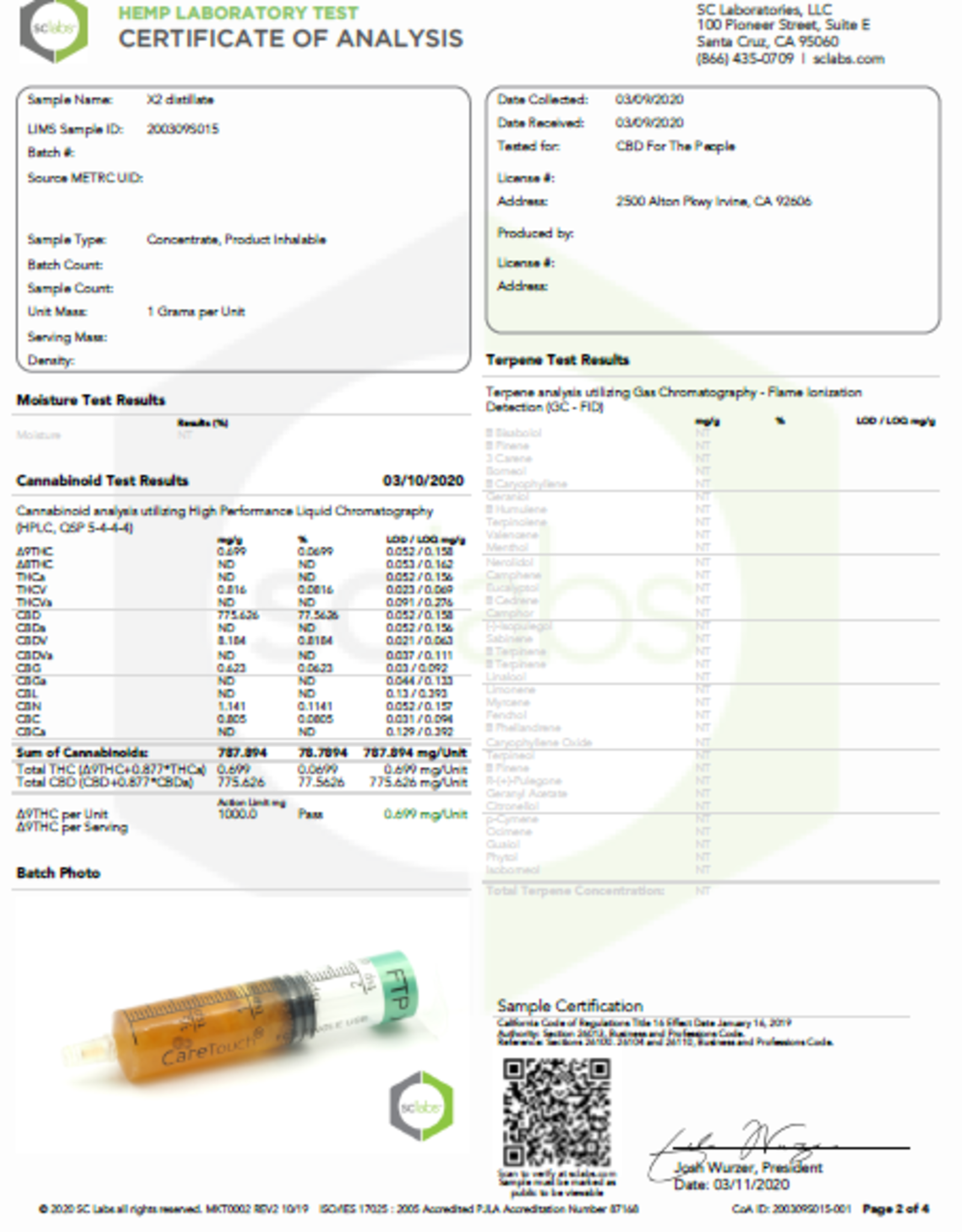 Full Spectrum CBD Green Cush Uncut Wax Cartridge, 325mg, Sativa X2