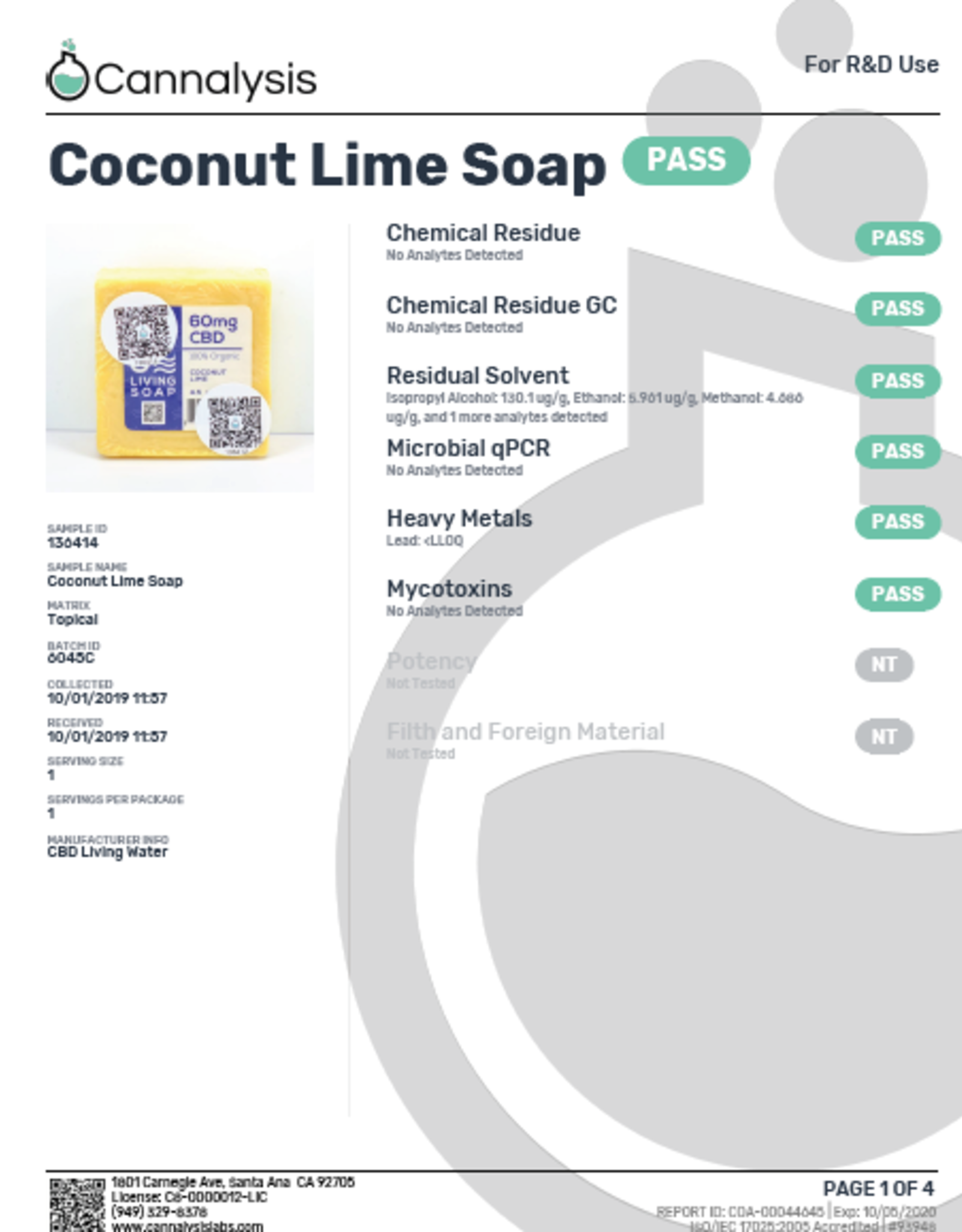 CBD Living Refreshing Coconut Lime Organic Soap 100mg