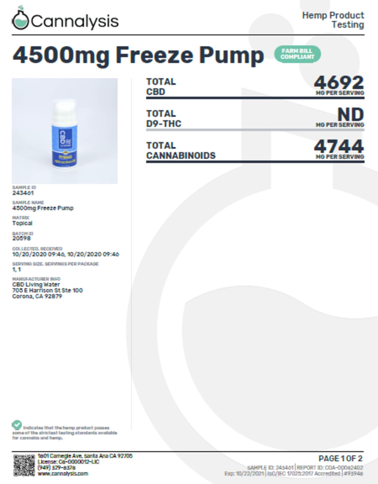CBD Living CBD Freeze Pump  3oz 4500mg