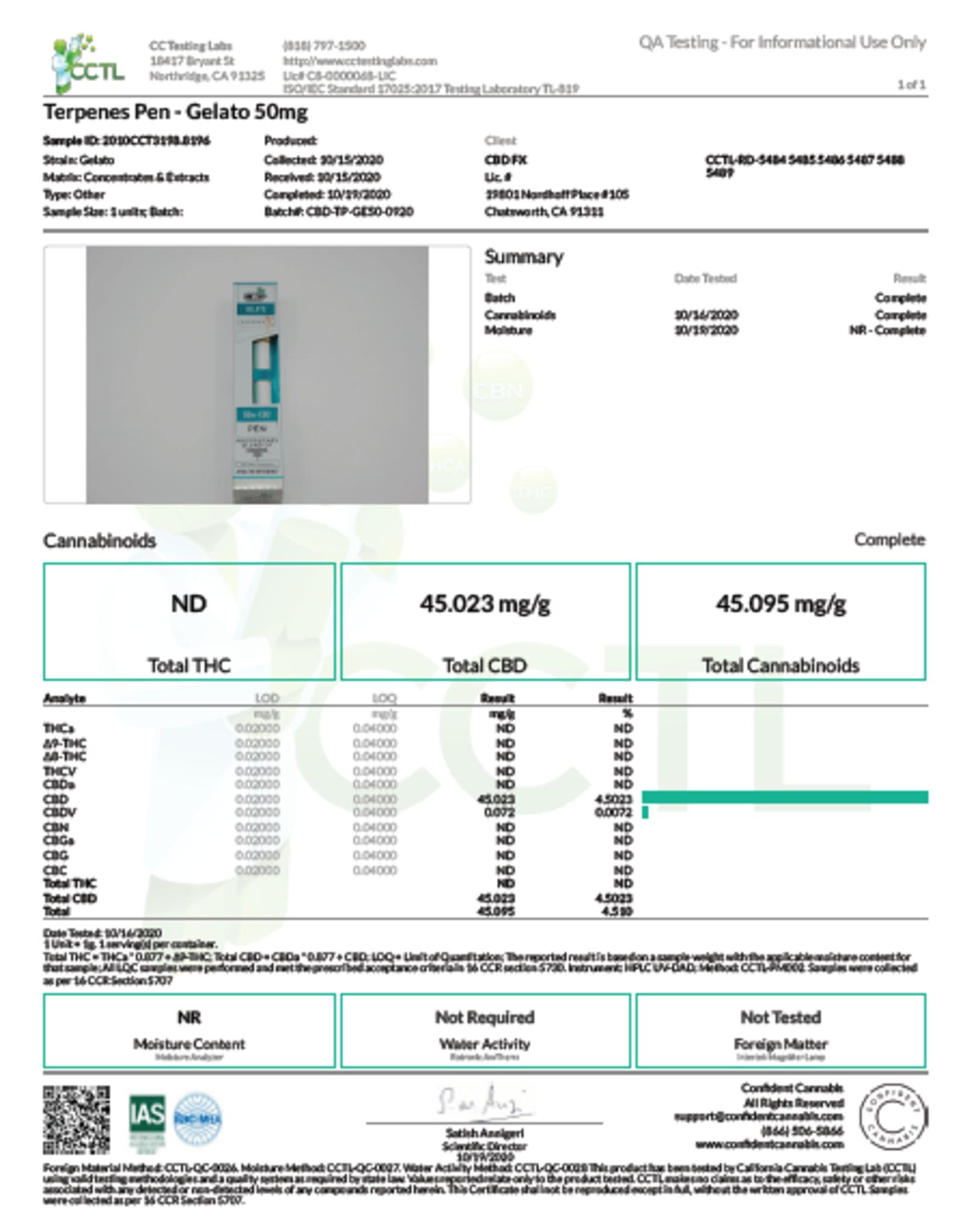 CBD + Terpenes 50mg Disposable Vape Pen, Gelato