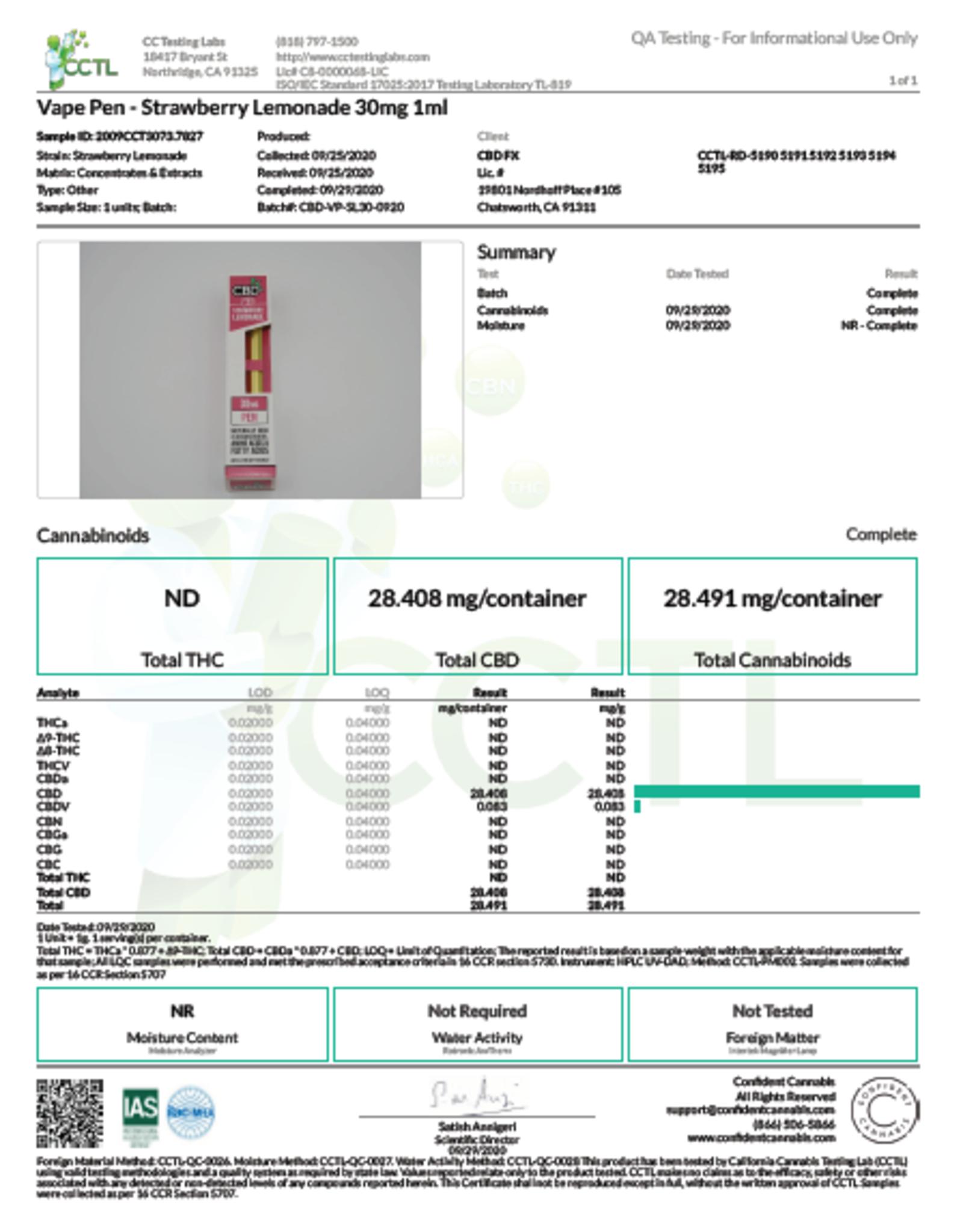 Disposable CBD Vape Pen, Strawberry Lemonade 30mg
