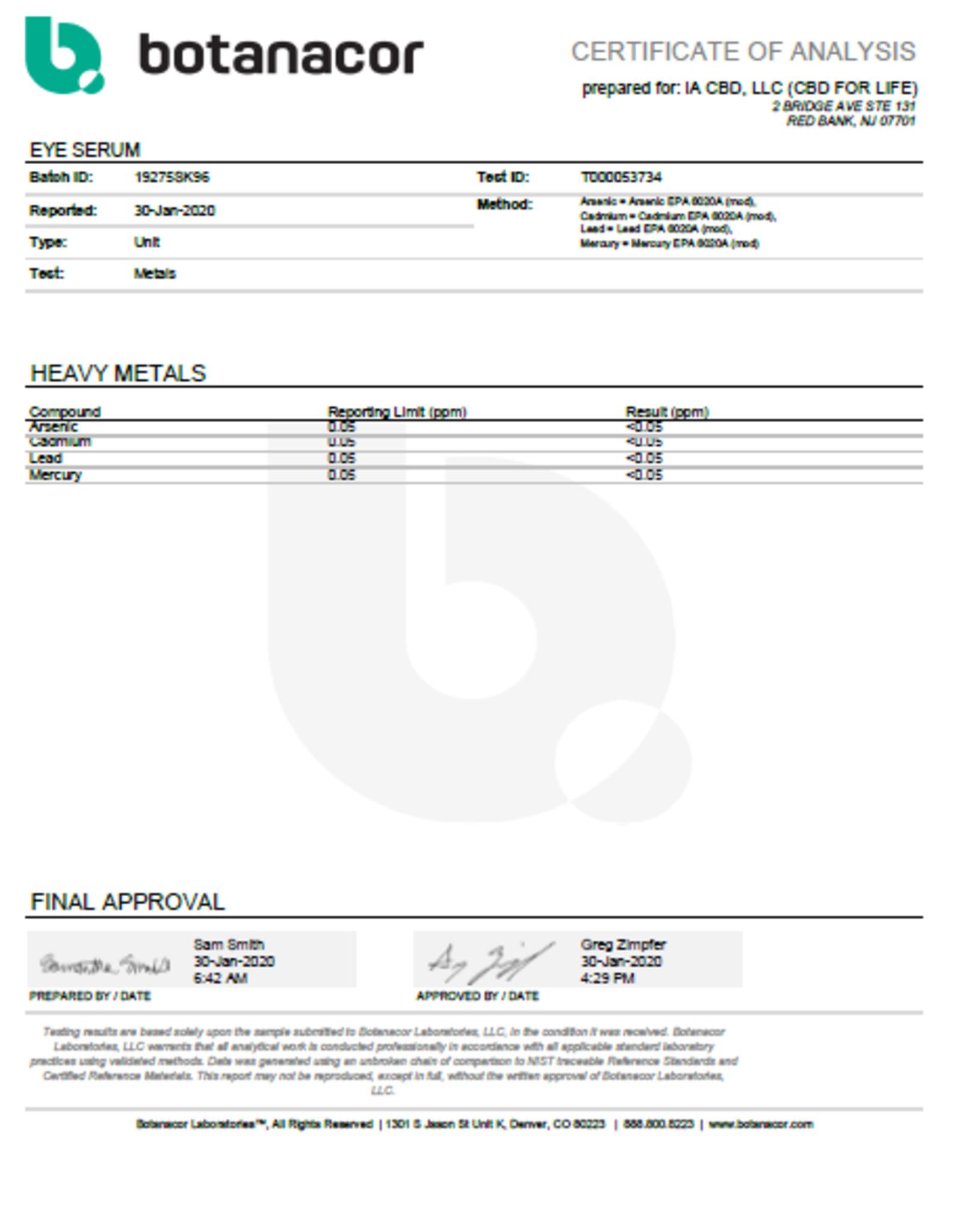 CBD For Life Pure CBD Eye Serum 60mg