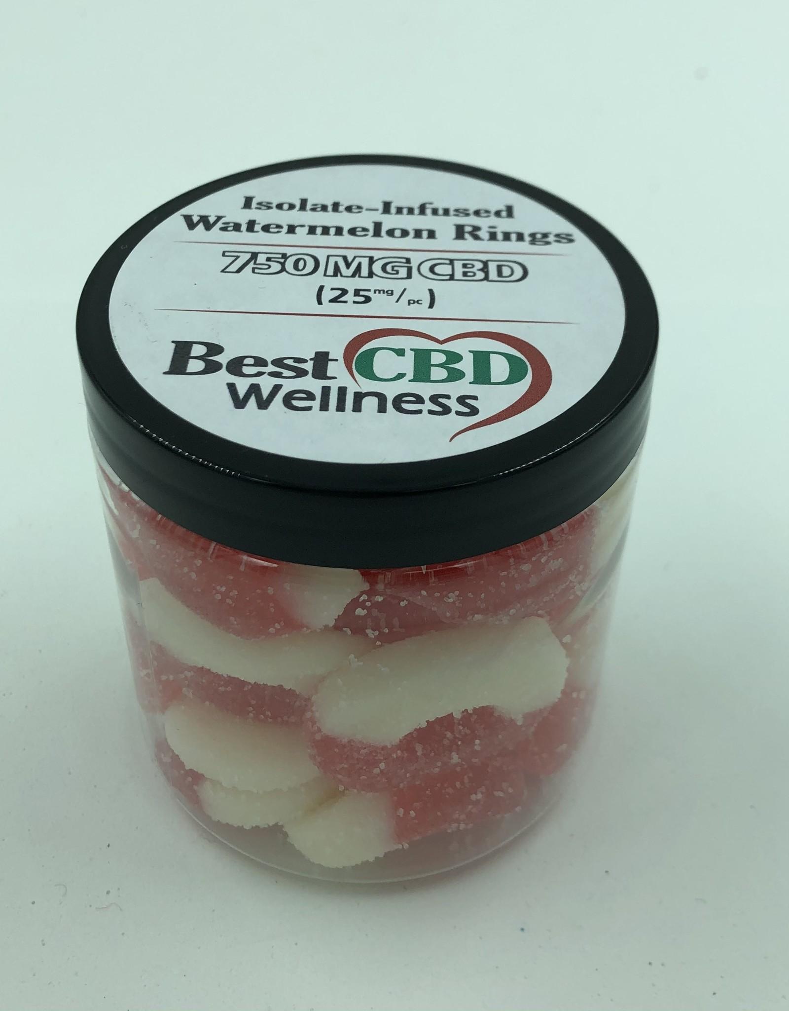 Best CBD Wellness Isolate CBD Watermelon Rings 750mg  30 pc / 25mg ea